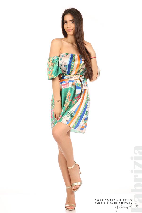 Мгогоцветна рокля паднали рамене екрю/зелен 4 fabrizia