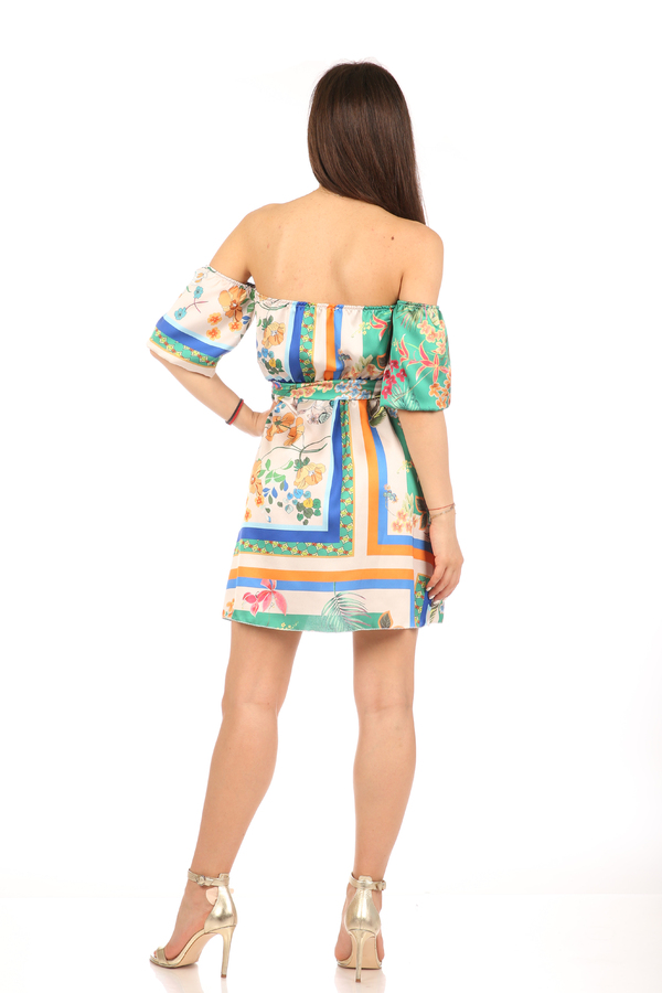 Мгогоцветна рокля паднали рамене екрю/зелен 7 fabrizia