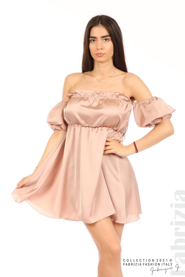 Едноцветна рокля паднали рамене пепел от рози 1 fabrizia