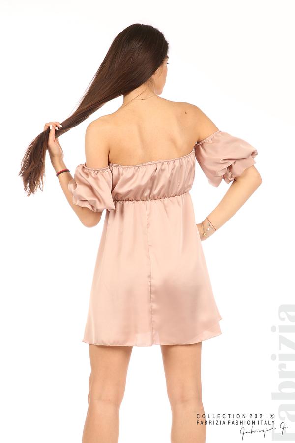 Едноцветна рокля паднали рамене пепел от рози 6 fabrizia
