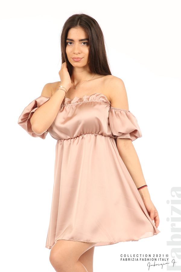 Едноцветна рокля паднали рамене пепел от рози 4 fabrizia