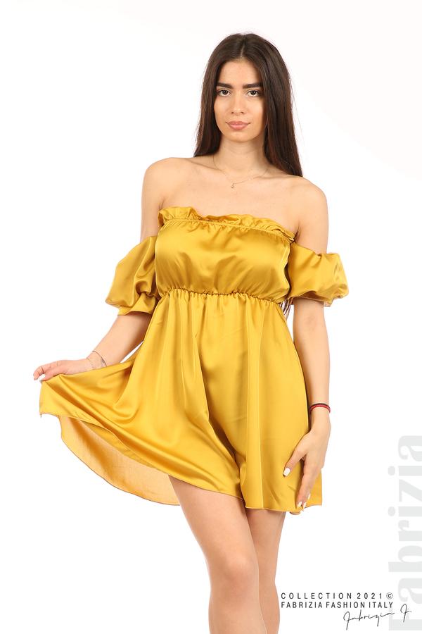 Едноцветна рокля паднали рамене горчица 1 fabrizia
