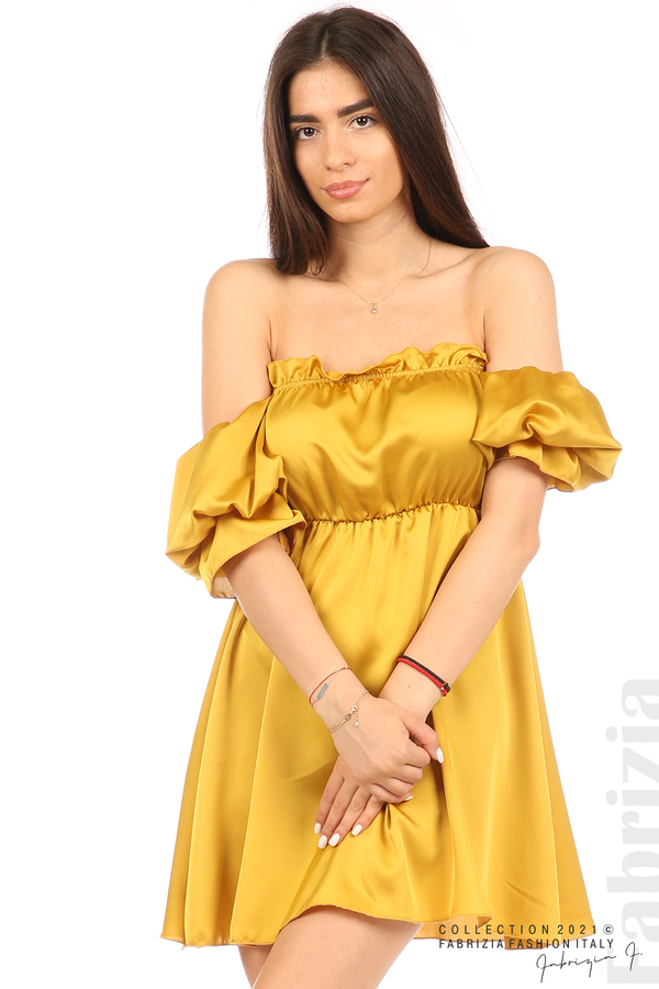 Едноцветна рокля паднали рамене горчица 2 fabrizia