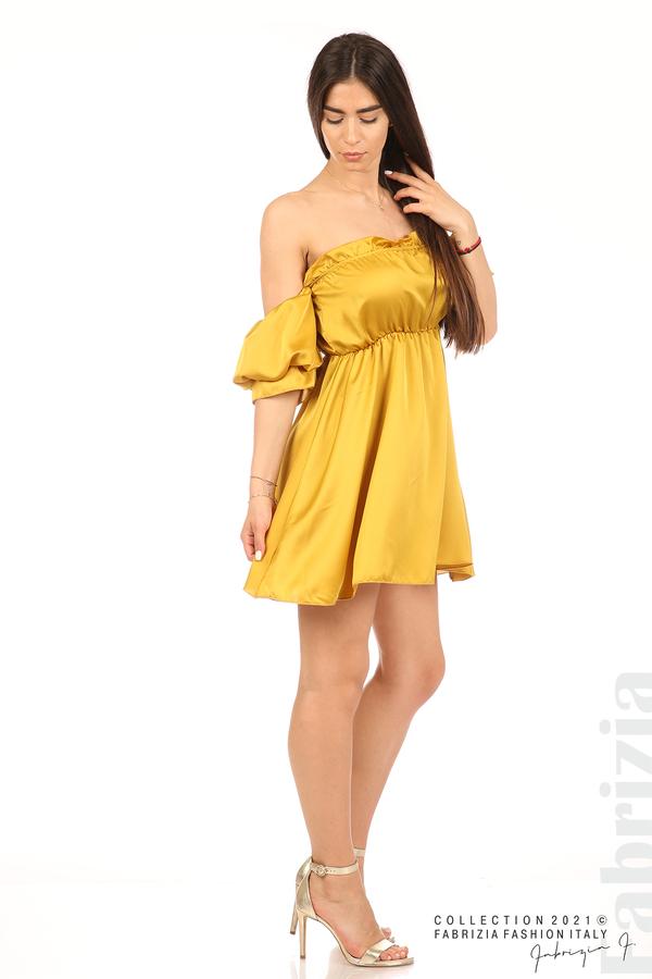 Едноцветна рокля паднали рамене горчица 5 fabrizia