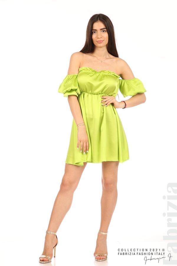 Едноцветна рокля паднали рамене ел.зелен 3 fabrizia