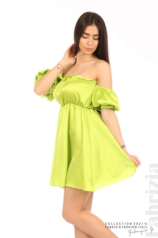 Едноцветна рокля паднали рамене ел.зелен 4 fabrizia