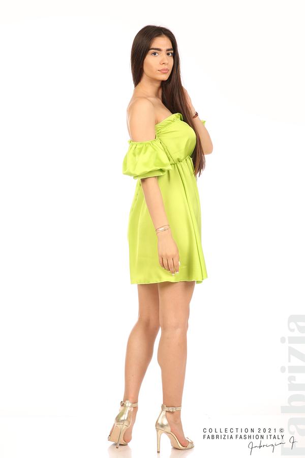 Едноцветна рокля паднали рамене ел.зелен 6 fabrizia