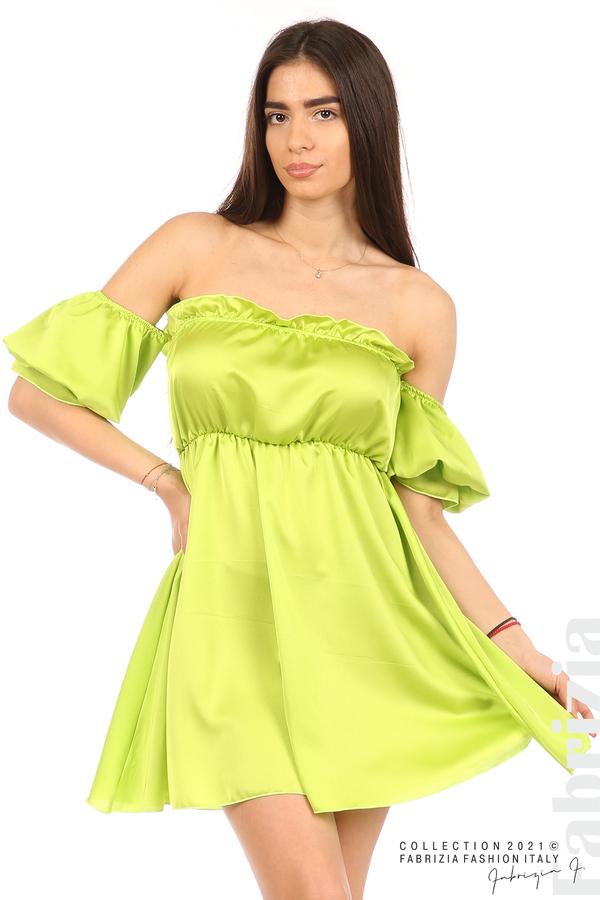Едноцветна рокля паднали рамене ел.зелен 2 fabrizia