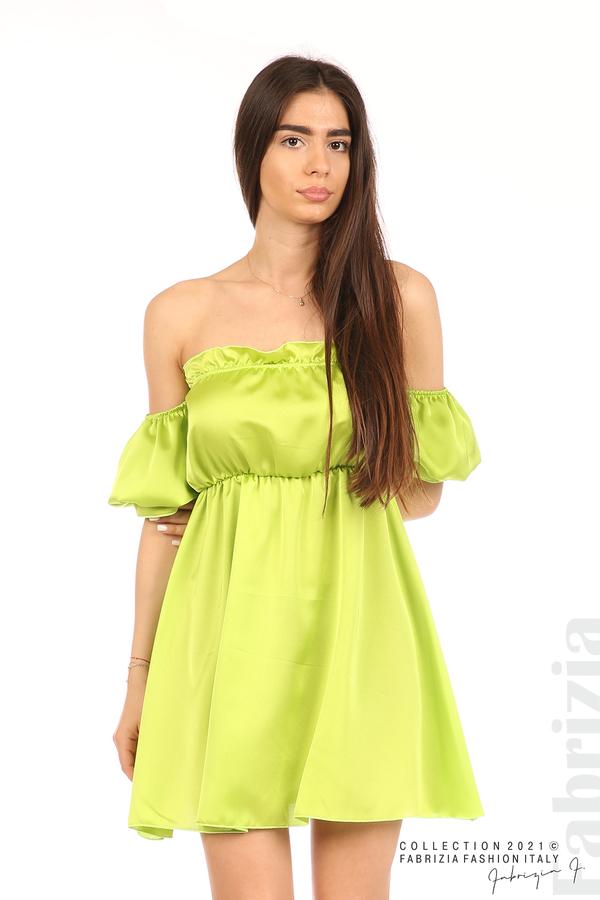 Едноцветна рокля паднали рамене ел.зелен 1 fabrizia