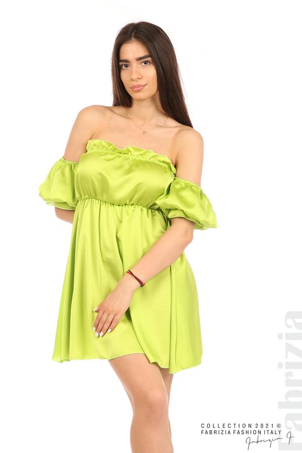 Едноцветна рокля паднали рамене ел.зелен 5 fabrizia