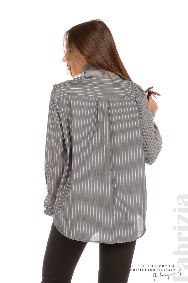 Ефектна комбинирана блуза-риза сив 6 fabrizia