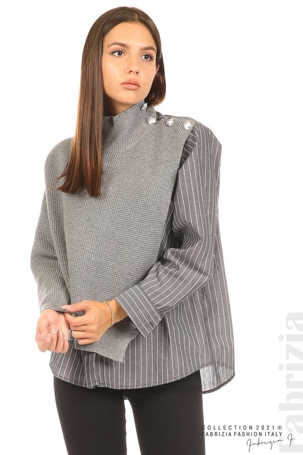 Ефектна комбинирана блуза-риза сив 2 fabrizia