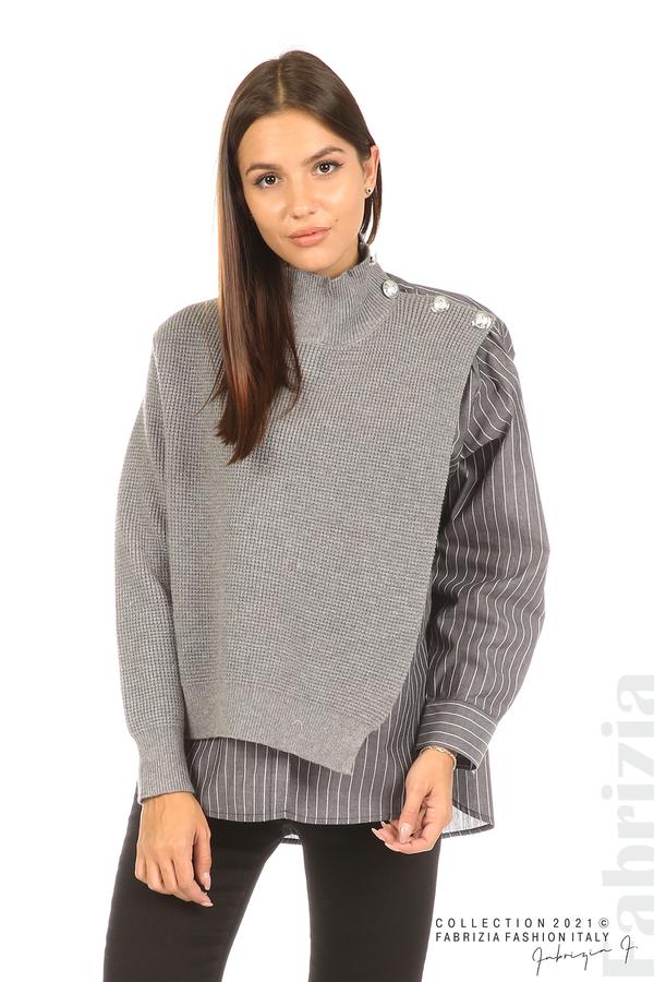 Ефектна комбинирана блуза-риза сив 1 fabrizia