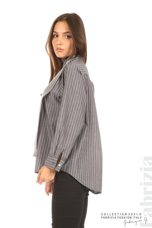 Ефектна комбинирана блуза-риза сив 4 fabrizia