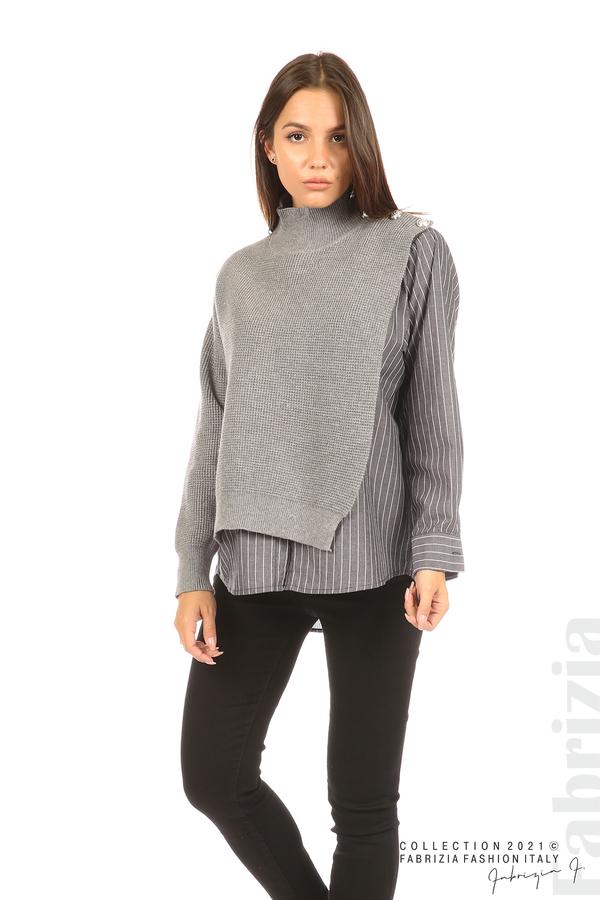 Ефектна комбинирана блуза-риза сив 5 fabrizia