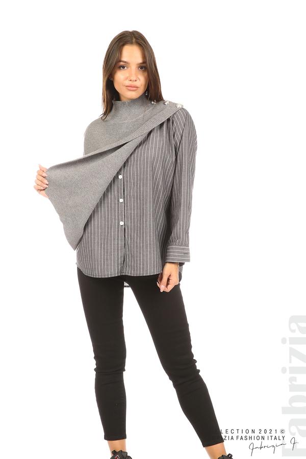 Ефектна комбинирана блуза-риза сив 3 fabrizia