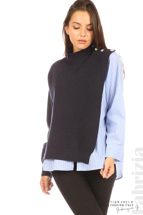 Ефектна комбинирана блуза-риза т.син 2 fabrizia