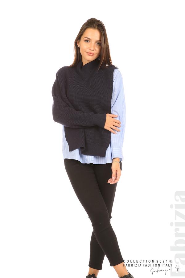 Ефектна комбинирана блуза-риза т.син 4 fabrizia