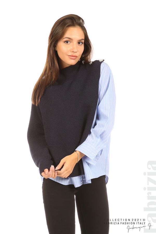 Ефектна комбинирана блуза-риза т.син 1 fabrizia