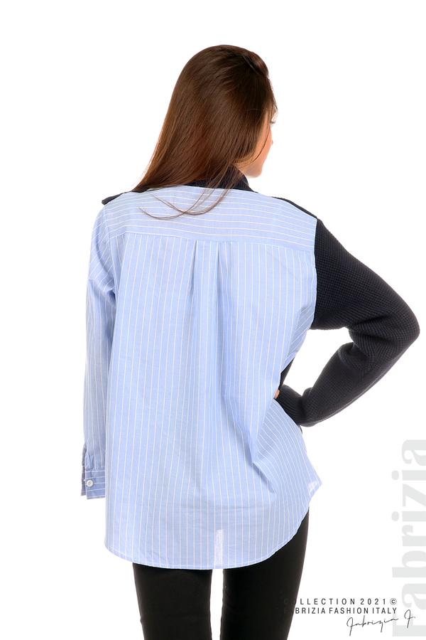 Ефектна комбинирана блуза-риза т.син 6 fabrizia