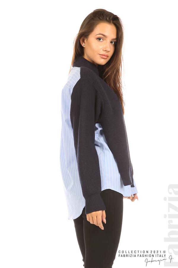 Ефектна комбинирана блуза-риза т.син 5 fabrizia