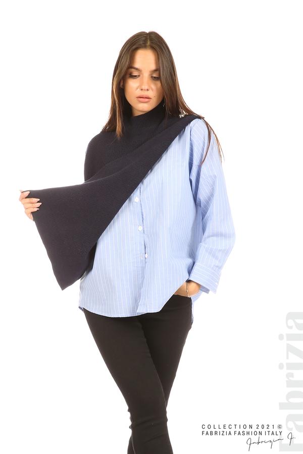 Ефектна комбинирана блуза-риза т.син 3 fabrizia