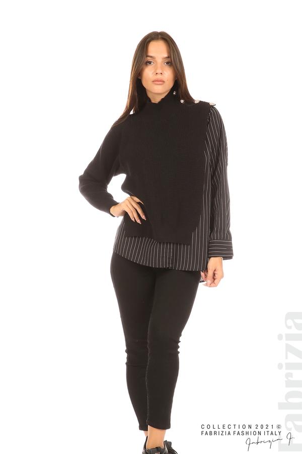 Ефектна комбинирана блуза-риза черен 3 fabrizia