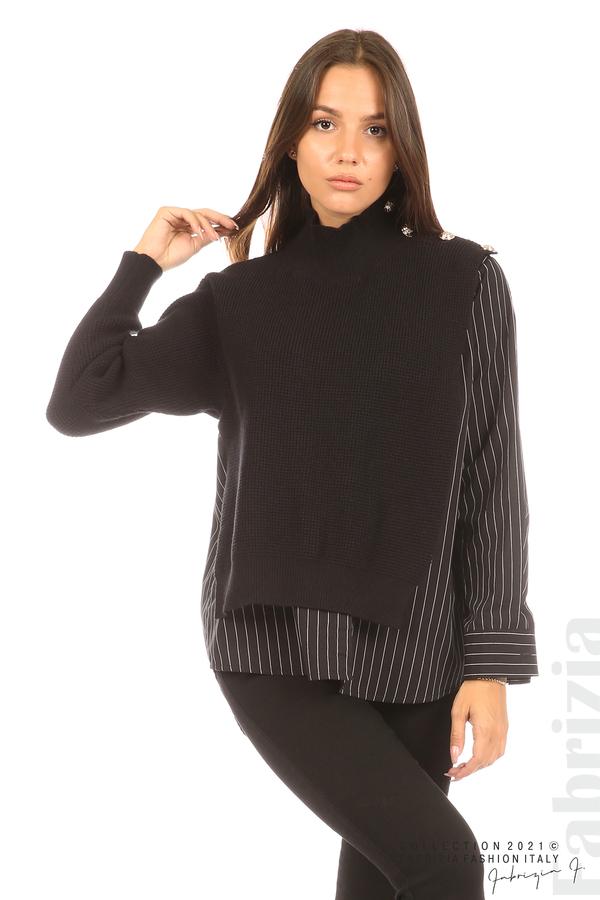 Ефектна комбинирана блуза-риза черен 2 fabrizia