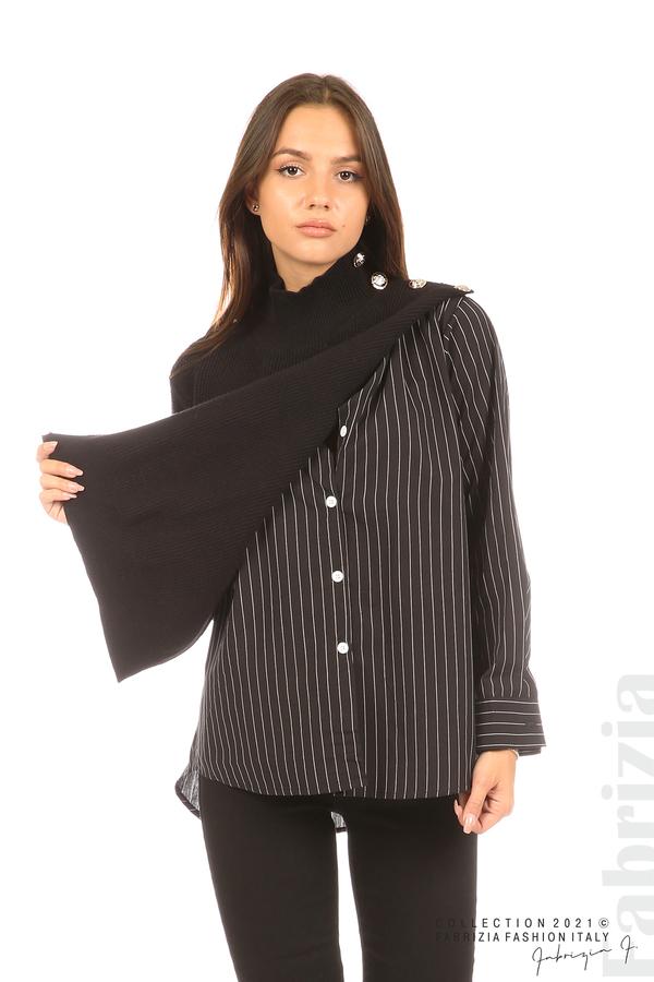 Ефектна комбинирана блуза-риза черен 1 fabrizia
