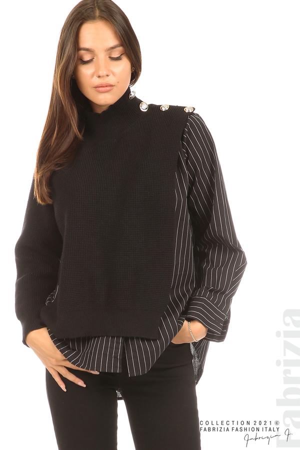 Ефектна комбинирана блуза-риза черен 4 fabrizia