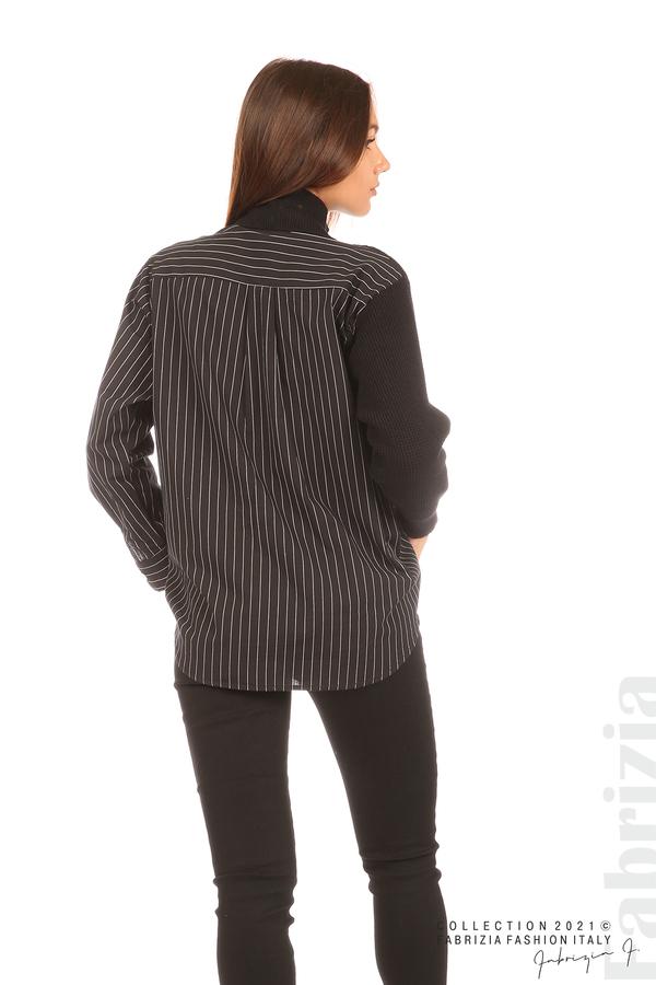 Ефектна комбинирана блуза-риза черен 6 fabrizia
