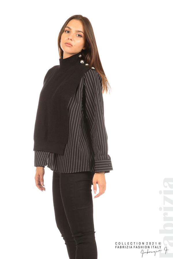 Ефектна комбинирана блуза-риза черен 5 fabrizia