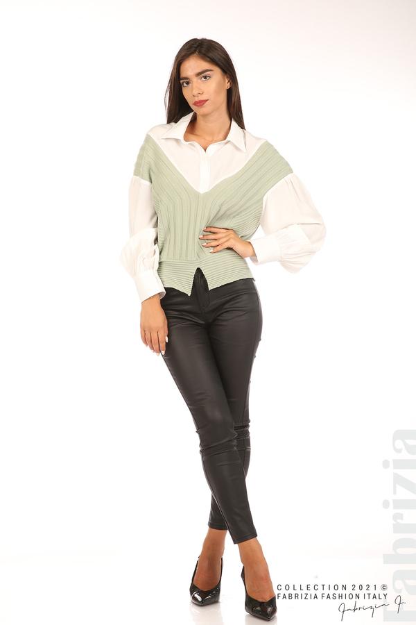Комбинирана риза с яка бял/зелен 3 fabrizia
