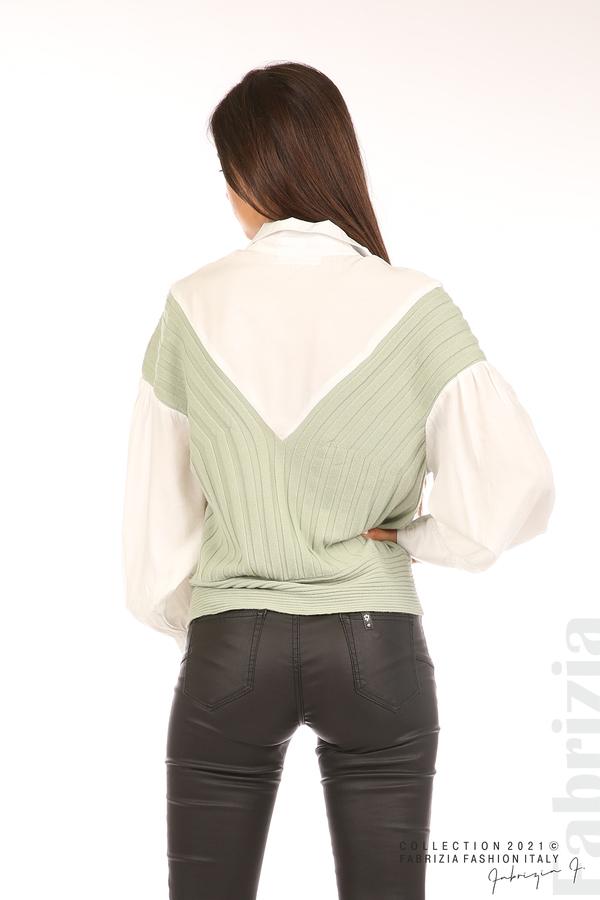 Комбинирана риза с яка бял/зелен 6 fabrizia