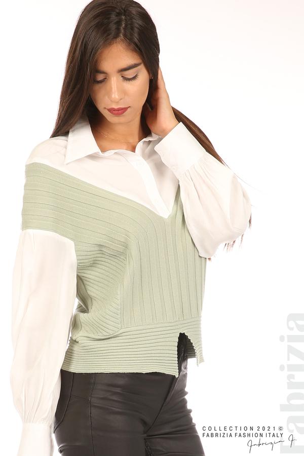 Комбинирана риза с яка бял/зелен 2 fabrizia