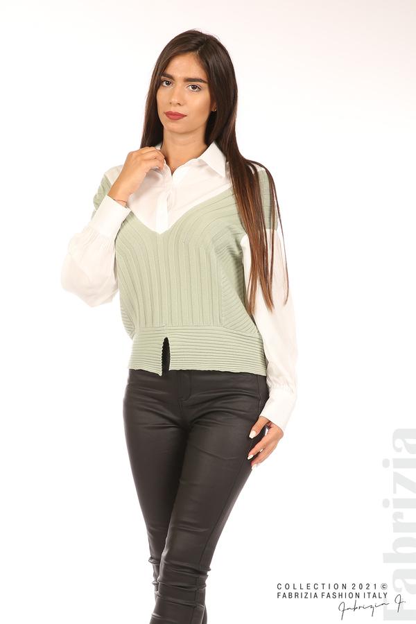 Комбинирана риза с яка бял/зелен 4 fabrizia