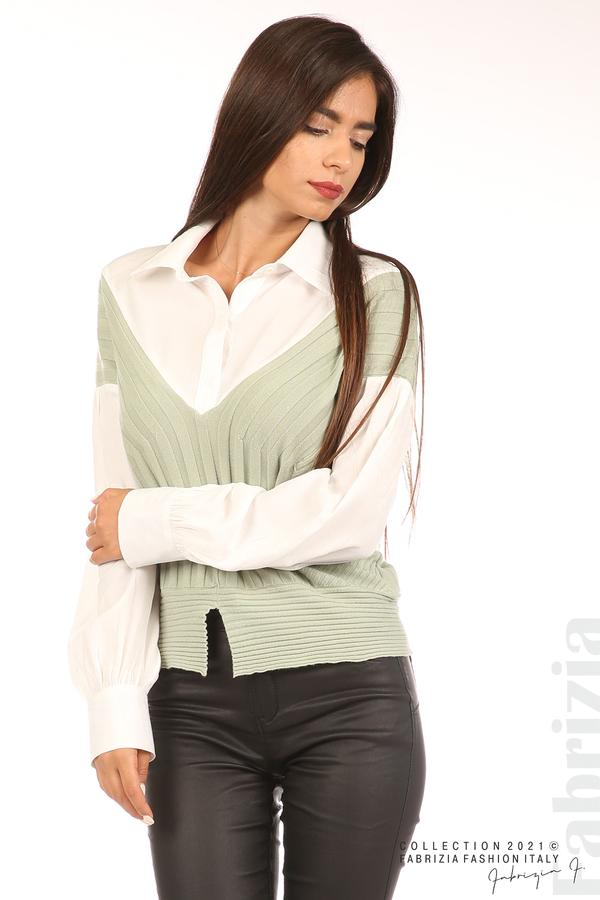 Комбинирана риза с яка бял/зелен 5 fabrizia