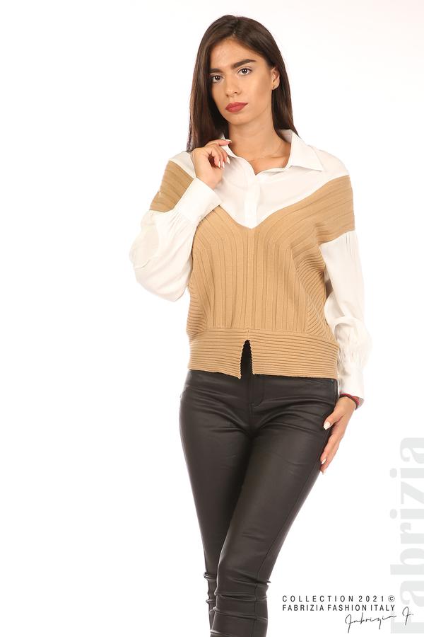 Комбинирана риза с яка бял/кафяв 4 fabrizia