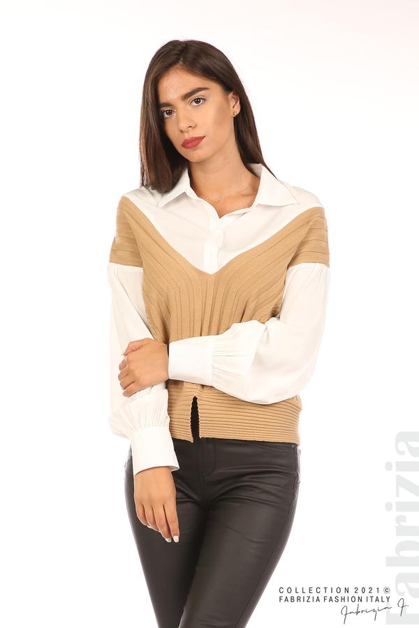 Комбинирана риза с яка бял/кафяв 1 fabrizia