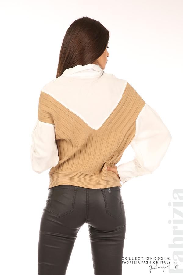 Комбинирана риза с яка бял/кафяв 6 fabrizia