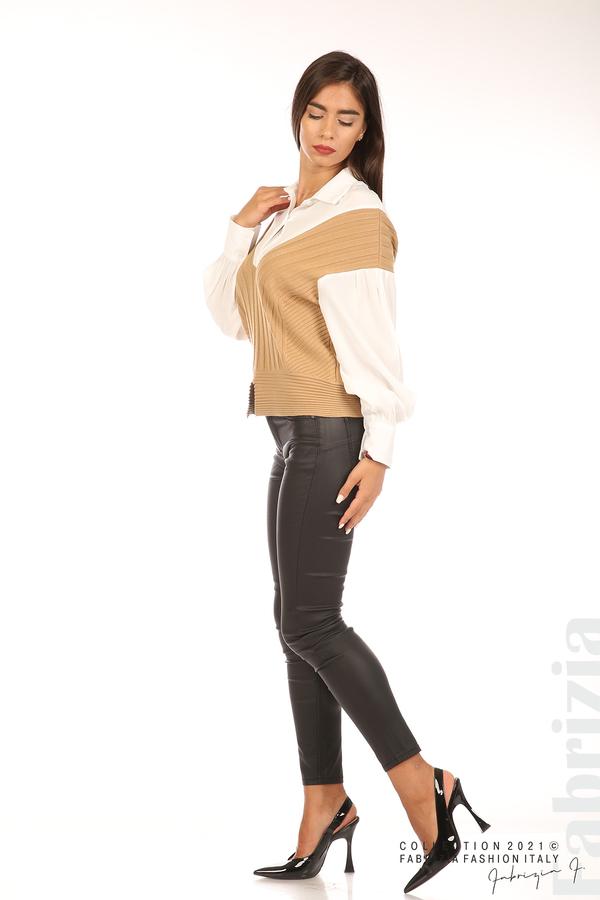 Комбинирана риза с яка бял/кафяв 3 fabrizia