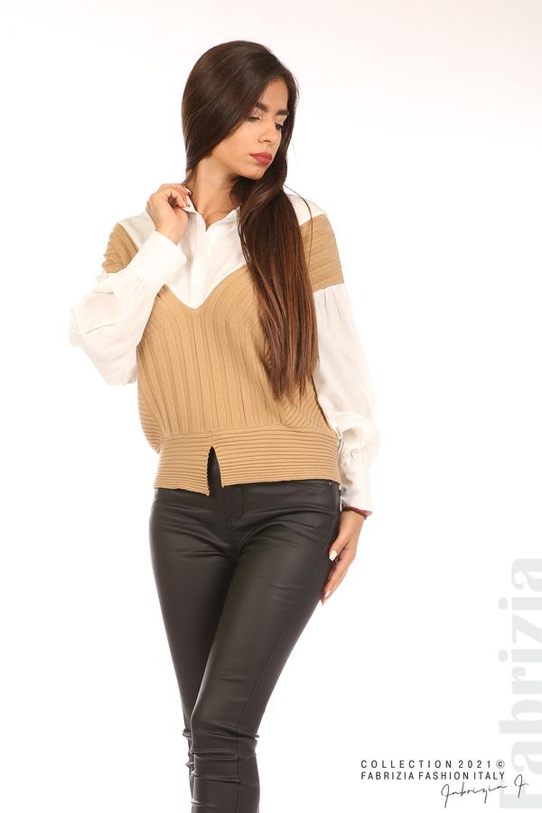 Комбинирана риза с яка бял/кафяв 5 fabrizia