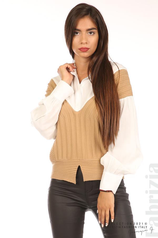 Комбинирана риза с яка бял/кафяв 2 fabrizia