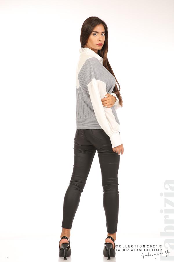 Комбинирана риза с яка бял/сив 6 fabrizia