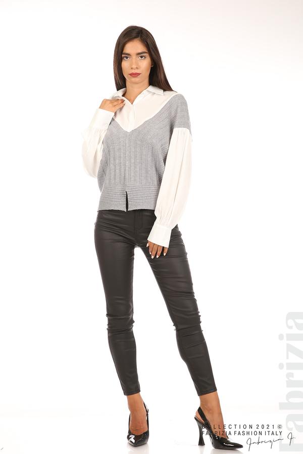 Комбинирана риза с яка бял/сив 3 fabrizia