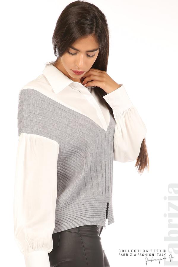 Комбинирана риза с яка бял/сив 2 fabrizia