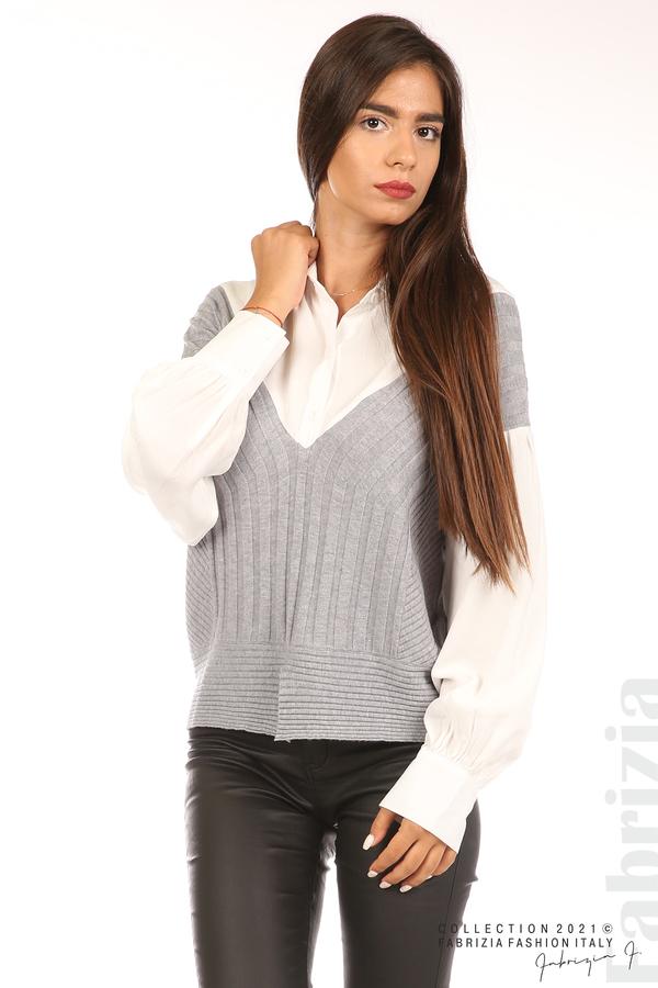 Комбинирана риза с яка бял/сив 4 fabrizia