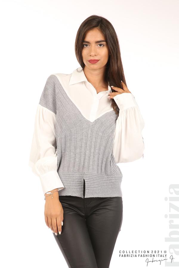Комбинирана риза с яка бял/сив 1 fabrizia