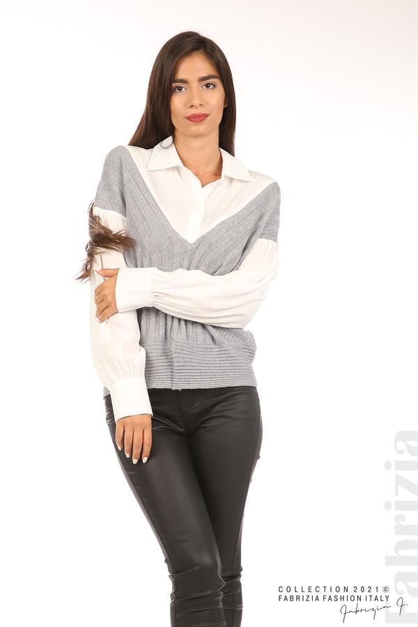 Комбинирана риза с яка бял/сив 5 fabrizia