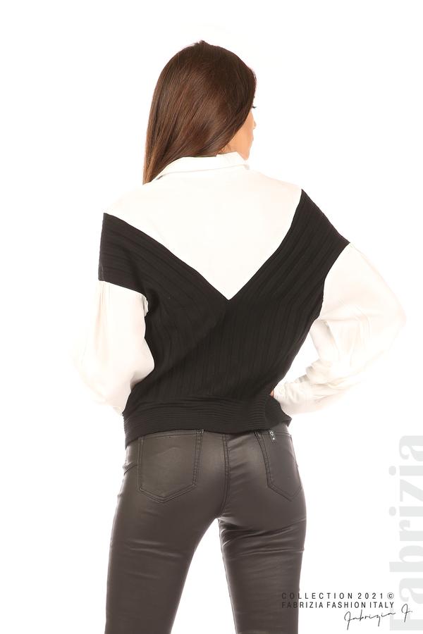 Комбинирана риза с яка бял/черен 6 fabrizia